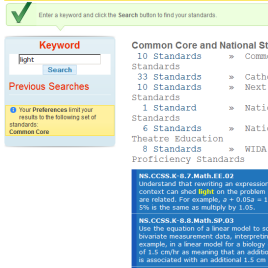 Standards Keyword Search