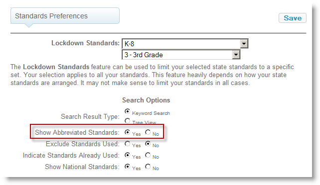 Abbreviated Standards Preferences